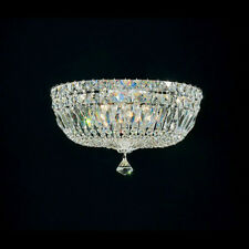 "Schonbek 14"" Flush Mount 5-Light SILVER Spectra Crystal Lighting Fixture Ceiling"