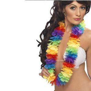 Hawaiian Fancy Dress Lei Garland Rainbow Floral Hawaiian Necklace New by Smiffys