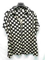 Alfani 3X Black Beige Polka Dot Shirt Short Sleeve V Neck Henley Stretch Knit 3X