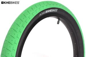 "KHE Acme BMX Tyre Street Park 20 "" Inches X 2,40 Green Black Only 24.3oz"