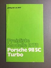 1978 Porsche 911 & Turbo FACTORY issued Price List Folder GERMAN RARE!! Awesome