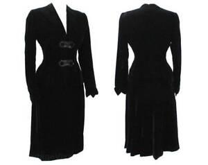 Size 6 1940s Suit - Black Velvet 40s Tailored Jacket & Skirt - Gorgeous WWII Era