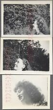 Lot of 3 Vintage 1940s Photos Profile View of Pretty Girls w/ Curly Hair 719719