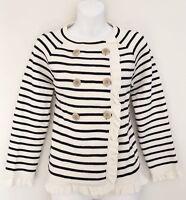 J CREW Women Knit Top Sz M Double Breasted Ivory Blue Stripe Ruffle Long Sleeve