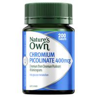 Nature's Own Chromium Picolinate 400mcg 200 Tablets Glucose Metabolism Natures