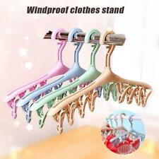 Plastic Hanger Hook 8 Clips Airer Drying Rack Hook For Underwear Sock Clothes