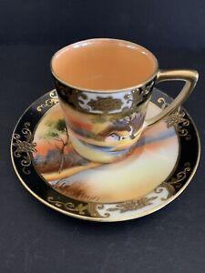 Antique Noritake Hand Painted Demitasse Cup & Saucer Set