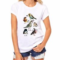 BIRDS WITH ARMS Printed women T-shirts Funny Cotton Short Sleeve Top Tees