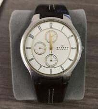 Skagen Denmark Men's Silver Steel Watch 433XLSGL1 Pebble Brown Leather Gold Hand