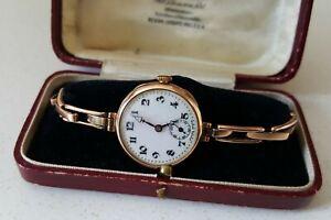 Ladies Vintage .375 9ct Gold Rolex Wrist Watch  9ct Gold Bracelet 16.3g + Box