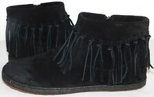 NEW WOMENS 11 BLACK UGG SHENENDOAH SUEDE MOCCASINS BOOTIES FRINGED BOOT