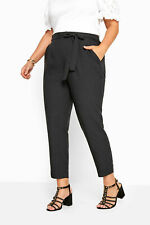 Women's Plus Size Black Crepe Tapered Trousers - Size 20