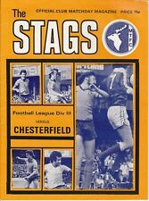 MANSFIELD v CHESTERFIELD  1978 / 79 Division 3 + Supplement for Postponed Game