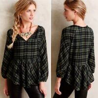 Holding Horses Anthropologie Green Plaid Peasant Top Blouse Size M Tassel Tie