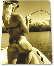 Good Catch Pinup Girl Sexy Cowgirl Fishing Man Cave Wall Decor Metal Tin Sign