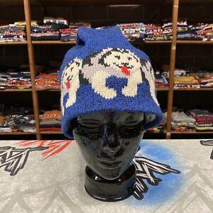 LL Bean Beanie Winter Hat Husky Dogs Blue VTG 90s Marled Wool US Huskies Cap