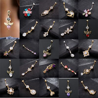 Zircon Crystal Flower Dangle Navel Belly Button Ring Bar Body Piercing Jewelry