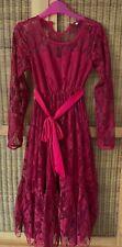 Girl's largo Bohemio Vestido Rojo, cintura lazo (edades 7 a 11)