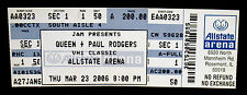 Queen+Paul Rodgers-Rare Original 2006 Concert Ticket-Row 1 Vip Ticket-Chicago