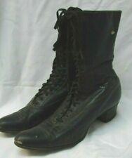 Antique Pair Victorian Edwardian Black Supple Leather Lace Up Boots Shoes sz 8