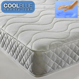 "Cool Blue Memory Foam 9"" Depth Open Coil Spring Single Double Roll Out Matress"