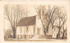 Grand Junction IA Man by Angled Steps~Presbyterian Church~Neighborhood RPPC 1914