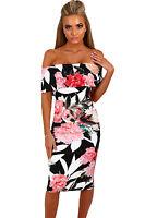 Black White Floral Off the Shoulder Summer dress UK 8 to plus size 16 18