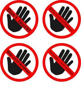 Aufkleber nicht anfassen berühren nur gucken Don't touch GLANZ Permanent