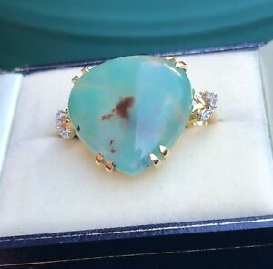 HUGE 14.92CT AQUAPRASE™ RING Y GOLD SIZE N 1/2  'CERTIFIED' BEAUTIFUL COLOUR!
