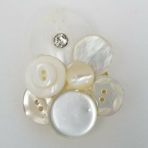 Vintage Handmade White Pearly Iridescent Group of Buttons Brooch