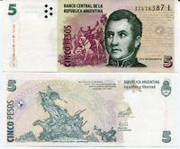 ARGENTINA 5 PESOS ND 2015 P 353 SERIES I AUNC ABOUT UNC