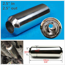 Universal ID/OD 63mm Stainless Middle Car Exhaust Pipe Tornado Muffler Silencer