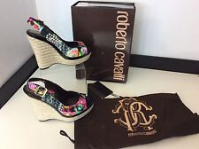 ROBERTO CAVALLI  NEW Wedge Heel Shoes Size 37.5 Uk 4.5 RRP £595 Black Flowers