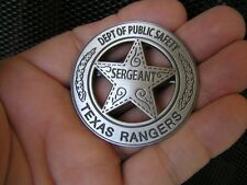 TEXAS RANGERS BADGE Walker - HIGH QUALITY Antique Silver - Marshal of OLD WEST