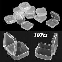 10Pcs/set Mini Clear Plastic Box Jewelry Earplugs Hooks Container Storage Holder