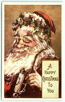 VTG Postcard Christmas Santa 1980 Reproduction Pipe Smoking Drunk Buzzed A5