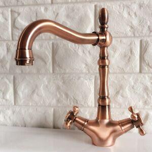 Antique Red Copper Deck Mount Single Hole Bathroom Faucet Vessel Sink Mixer Tap