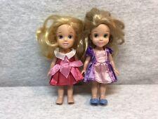 "Disney Tollytots Petite Princess Dolls Rapunzel  And Aurora 6"" Mini Kids Toys"