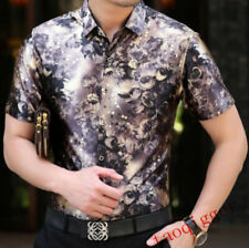 Mens 18 Colors Lapel Collar Velvet Floral Silk Shirts short Sleeve Business Tops