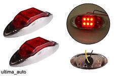2x 12V 6 LED SIDE REAR CHROME MARKER RED LIGHTS LAMPS TRAILER HORSEBOX VAN