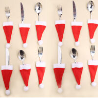 50x Christmas Hat Silverware Holder Xmas Mini Red Santa Claus Cutlery Bag Sale