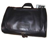 PENGUIN Men's Black Leather Hanging Toiletry Travel Shave Kit Case Bag NWT $50