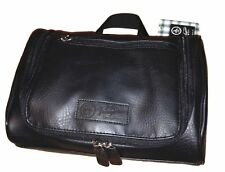 PENGUIN Men's Black Leather Hanging Toiletry Travel Shave Kit Case Bag NWT $50
