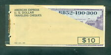 American Express 1969 US Dollars Unused Travelers Cheques Booklet of 9x$10