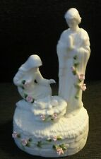 San Francisco Music Box Co. Nativity White with Pink Roses Plays O HOLY NIGHT
