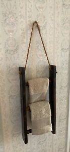 Ladder Towel Rack Brown Wood Hand Painted 3 Rung Wall Hanging Decor 8.5x2x18""