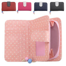 Ladies Polka Dot Purse Wallet Soft Faux Leather Rear Zipped Coin Section
