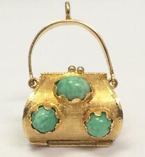 Vintage Ornate 18K Yellow Gold Purse Handbag Charm Pendant Cabochon Turquoise