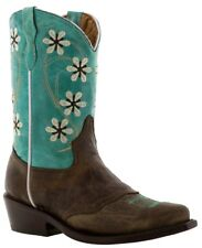 Girls Turquoise Brown Floral Dress Embroidery Leather Cowgirl Boots Pointed Toe