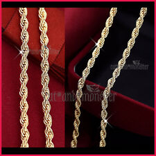 18K YELLOW GOLD FILLED MENS WOMENS SOLID 3MM ROPE CHAIN LONG NECKLACE 60cm GIFT